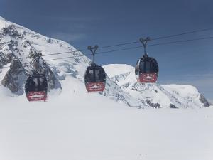 The Cable Car Between Italy and France Through the Mont Blanc Massif, Aiguille Du Midi, Chamonix, H by Angelo Cavalli