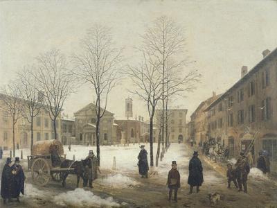 Milan, Piazza Borromeo under Snow