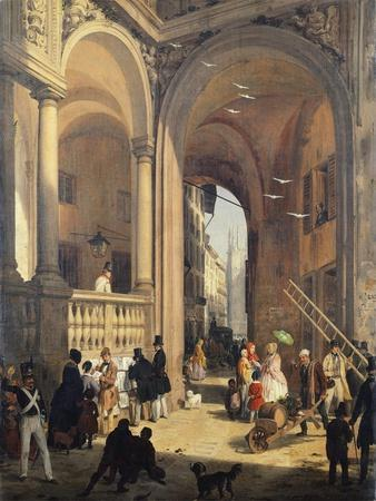Piazza Dei Mercanti or the Transition from the Old Fish Merchants' Square, 1844