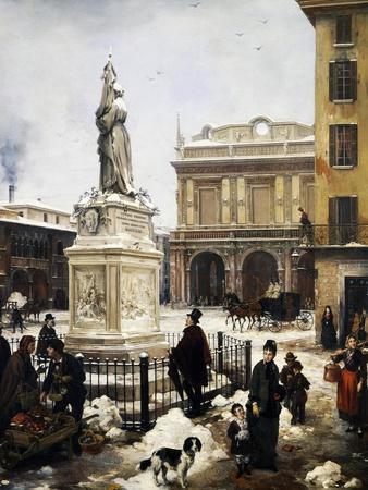 Piazza Della Loggia in the Snow in Brescia, 1879