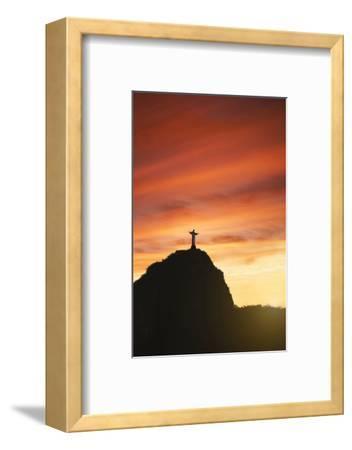 Statue of Christ the Redeemer at Sunset, Corcovado, Rio De Janeiro, Brazil, South America