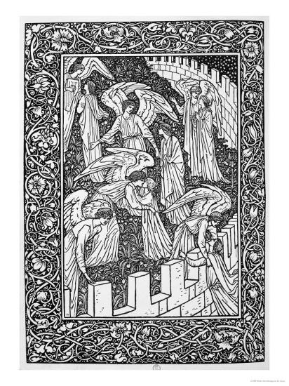 Angels Behind the Inner Sanctuary, from The Kelmscott Chaucer, Published by Kelmscott Press, 1896-William Morris-Premium Giclee Print