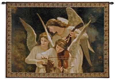 Angels Playing Violin-William Adolphe Bouguereau-Wall Tapestry