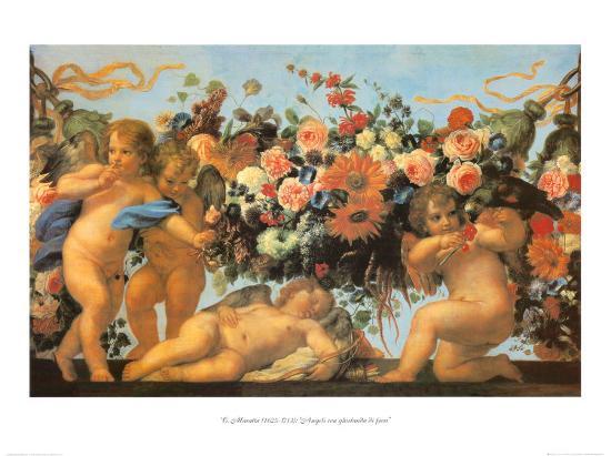 Angels with Garland of Flowers-Carlo Maratti-Art Print