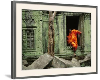 Angkor Wat Temple with Monk, Siem Reap, Cambodia-Steve Raymer-Framed Photographic Print
