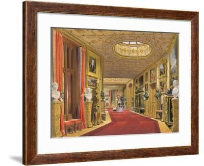 Angle of the East Corridor, Windsor Castle, from 'Windsor and its Surrounding Scenery', 1838-James Baker Pyne-Framed Giclee Print