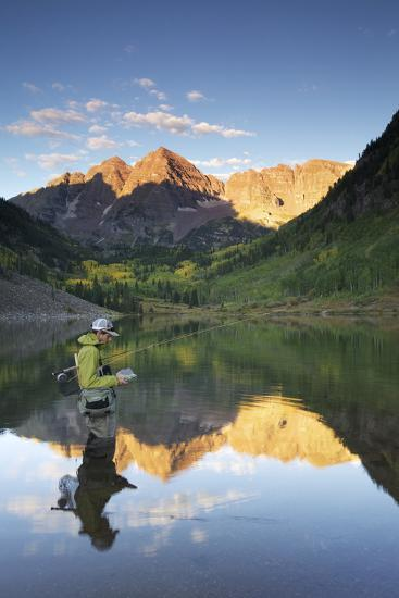 Angler Geoff Mueller Fly Fishing on a Lake in Maroon Bells Wilderness, Colorado-Adam Barker-Photographic Print