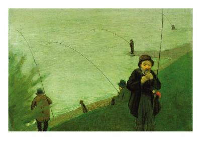 Anglers On The Rhine-Auguste Macke-Art Print