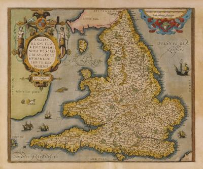 Angliae Regni Florentissimi Nova Descriptio, 1573- Ortelius Lhuyd-Premium Giclee Print