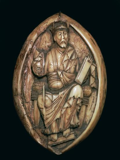 Anglo-Saxon carving of a man writing a book, 10th century. Artist: Unknown-Unknown-Giclee Print