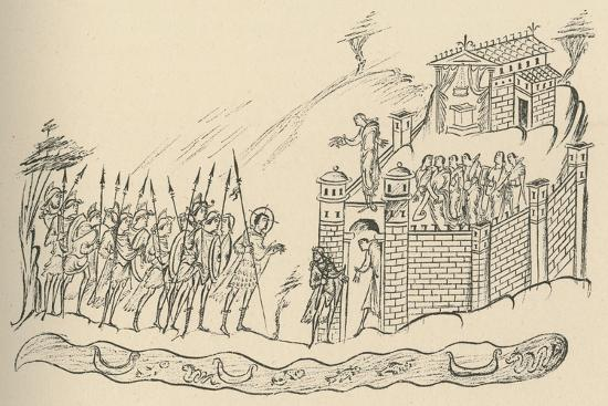 'Anglo-Saxon Warriors Approaching a Fort', 1908-Unknown-Giclee Print