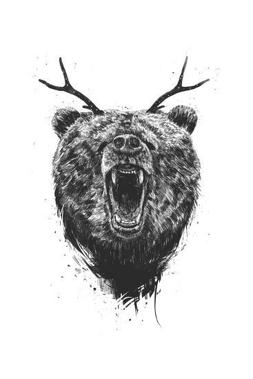 Angry Bear With Antlers-Balazs Solti-Art Print