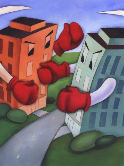 Angry Buildings Boxing Each Other across Street--Photo