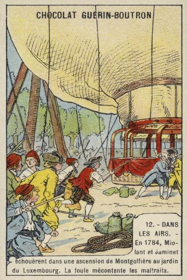 Angry Crowd Attacking Miloant and Jaminet after the Failure of their Balloon Ascent from the Jardin--Giclee Print