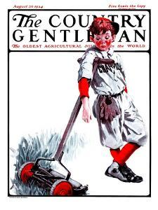 """Cut Grass or Play Baseball?,"" Country Gentleman Cover, August 30, 1924 by Angus MacDonall"