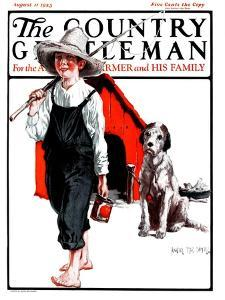 """Gone Fishing Without Fido,"" Country Gentleman Cover, August 11, 1923 by Angus MacDonall"
