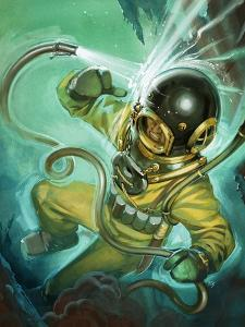 Air Hose Snaps Loose from a Diver's Suit by Angus Mcbride