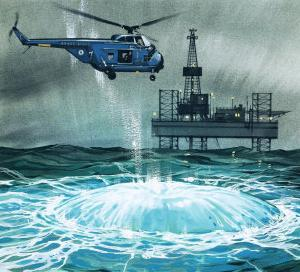 Helicopter Approaches an Oil Rig by Angus Mcbride