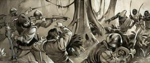 Portuguese Sailors Attacked by Hostile Tribes in North Africa by Angus Mcbride