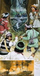 Seminole Indians Battle the American Soldiers in the Swamps by Angus Mcbride