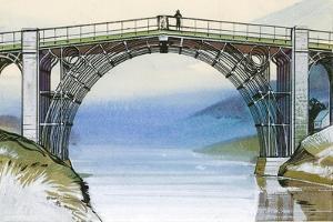 The First Iron Bridge in Britain, at Ironbridge Gorge by Angus Mcbride