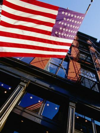 American Flag Waving at West Broadway in Soho, New York City, New York, USA