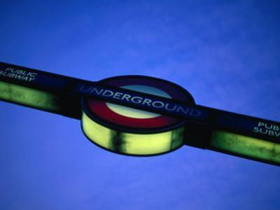 Illuminated Sign for London Underground, or Tube, London, England