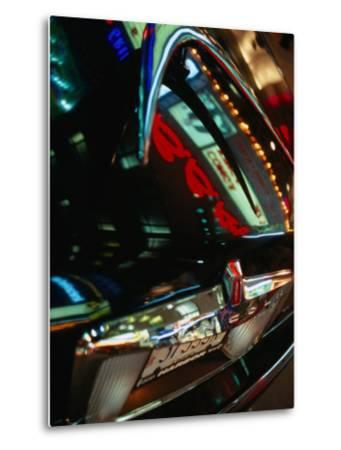 Lights of Times Square Reflected on Trunk of Limousine, New York City, New York, USA