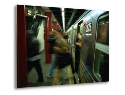 People Disembarking Subway Train, New York City, New York, USA