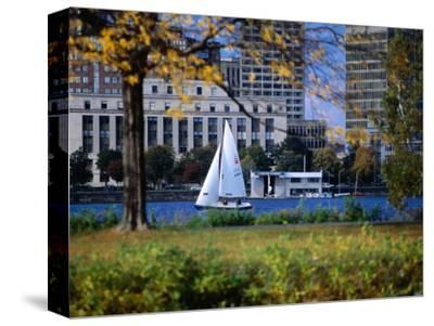 Sailing off the Esplanade on the Charles River, Boston, Massachusetts, USA