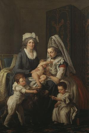 Portrait of a Lady, in an Interior with Her Nurse and Three Children