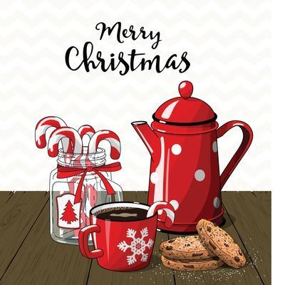 Red Vintage Coffee Pot with Cup. Glass Jar with Candy Canes and Cookies on Brown Wood, with Text Me