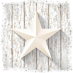 White Star with 3D Effect on White Wood, Christmas Motive, Vector Illustration, Eps 10 with Transpa by Anikakodydkova
