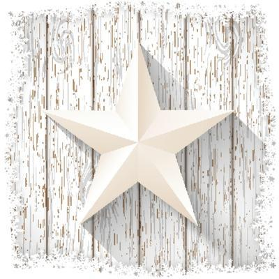 White Star with 3D Effect on White Wood, Christmas Motive, Vector Illustration, Eps 10 with Transpa