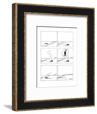 Animal coming out of the sea and onto land thinks of becomeing a businessm? - New Yorker Cartoon-Anthony Taber-Framed Premium Giclee Print