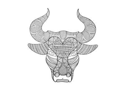 Animal Head Bull-Neeti Goswami-Art Print