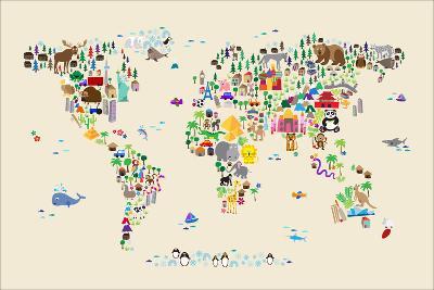 Animal Map of the World for children and kids-Michael Tompsett-Art Print