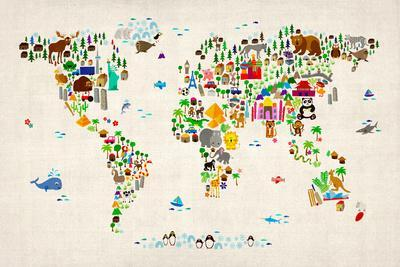 Animal Map of the World-Michael Tompsett-Art Print