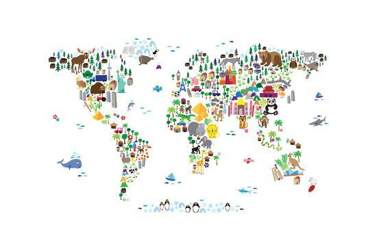 Animal Map of the World-Michael Tompsett-Premium Giclee Print