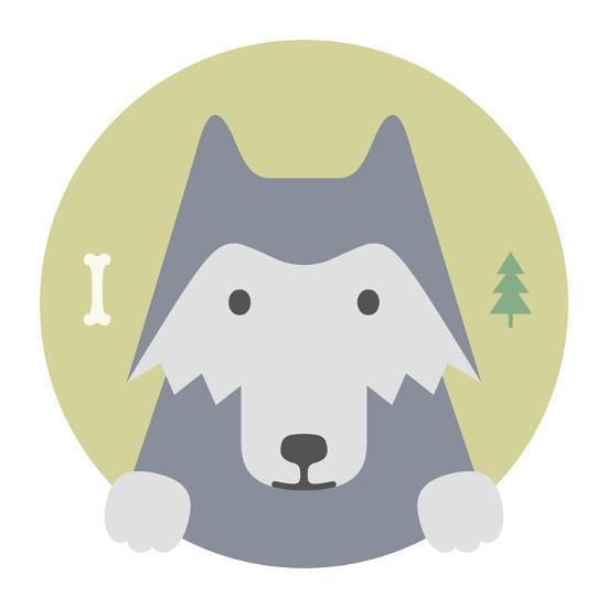 Animal Set. Portrait in Flat Graphics. Wolf-sonyakamoz-Art Print