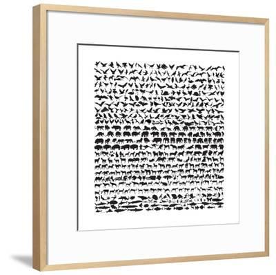Animal Silhouettes 2-ktinte-Framed Art Print
