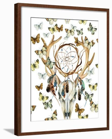Animal Skull with Dreamcather and Butterfly-tanycya-Framed Art Print