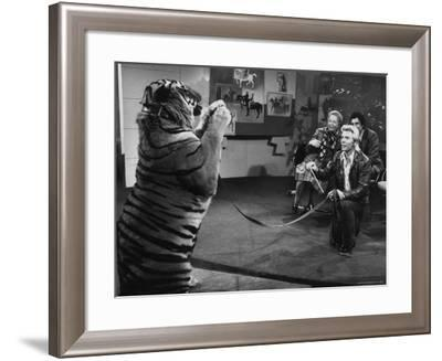 "Animal Trainer Gunther Gebel Williams on ""Panorama"" with Guest Martha Mitchell and Maury Povich-Walter Bennett-Framed Premium Photographic Print"