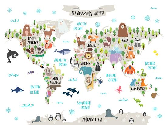 Animal World Map-Elena David-Art Print