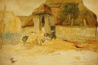 Animals before a Thatched Barn-James Ward-Giclee Print
