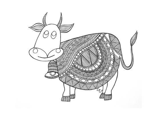 Animals Cow 3-Neeti Goswami-Art Print