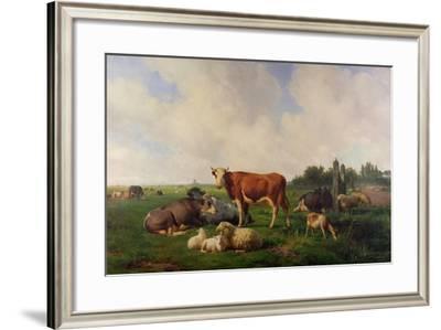 Animals Grazing in a Meadow-Hendrikus van de Sende Baachyssun-Framed Giclee Print