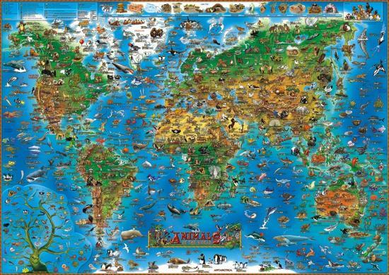 Animals of the World Map Educational Poster--Laminated Poster