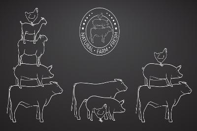 Animals Pyramide, Natural, Farm, Fresh-ONiONAstudio-Art Print