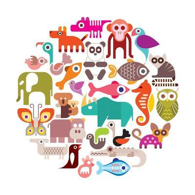 Animals Round Illustration-Jazzia-Art Print